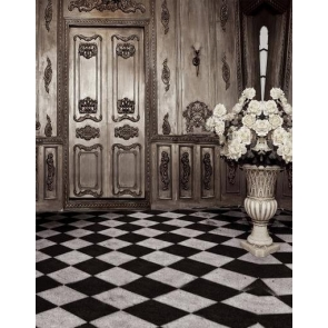Retro Black And White Checkered Floors Indoor Wood Wall Backdrop Photography Background