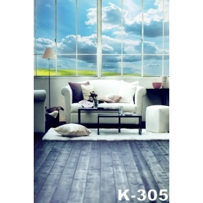 Blue Sky White Cloud Glass Window Wood Floor Sofa Background Indoor Backdrops