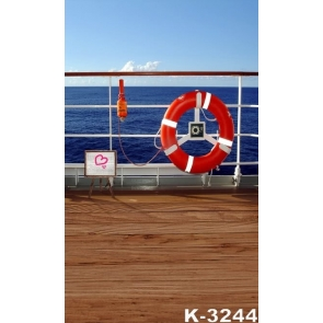 Wood Ship Deck Blue Sea Scenic Background Drops for Photography