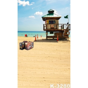 Small Wood House Suitcases by Seaside Beach Photo Prop Background