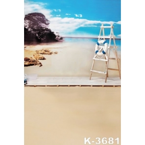 Seaside Wood Ladder by Sandy Beach Camera Backdrops