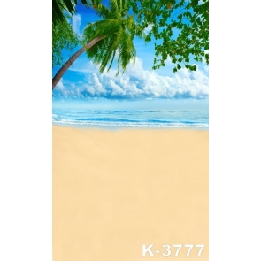 Summer White Clouds Blue Sky Beach Scenic Painted Photography Backdrops