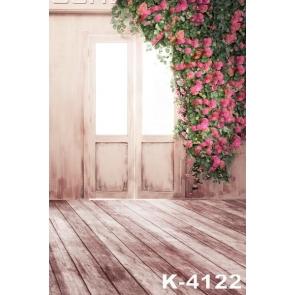 Bright Door Plank Floor Rose Red Flowers Wedding Vinyl Photo Backdrops