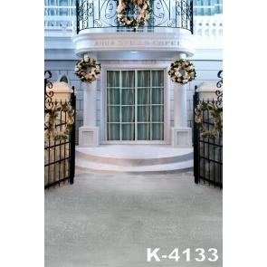 White Villa Iron Gate Flowers Wedding Photo Backdrops Vinyl Background