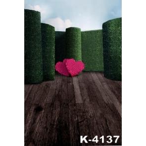 Plank Floor Green Background Heart Shaped Flowers Wedding Vinyl Photography Backdrops