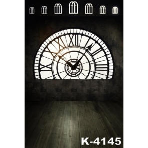 Simple Plank Floor Clock Wedding Vinyl Photography Backdrops
