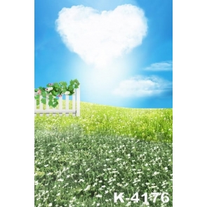 Lovely Heart Shaped Cloud Flowers Ground Children's Photography Backdrops