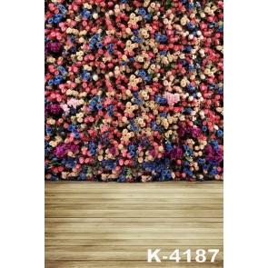 Roses Flower Wall Plank Floor Wedding Photo Backdrops