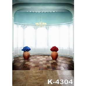 Indoor Window Curtains Blue Wall Flowers Wedding Camera Backdrops