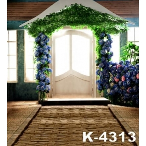 Green Leaves Blue Flowers Front Door Wedding Photographic Backdrops