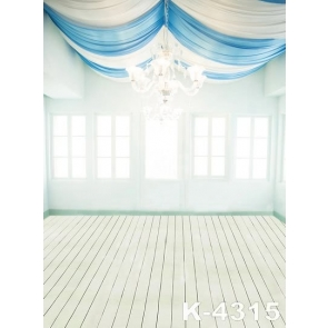 White Blue Ribbons on Ceiling Large Chandelier Wedding Photo Drop Background