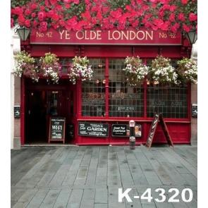 Red Flowers outside London Restaurant Wedding Large Photo Backdrops