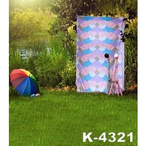 Rustic Green Grassland Umbrella Wedding Backdrops for Photography