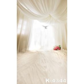 Romantic White Gauze Red Flowers Wedding Professional Photo Backdrops