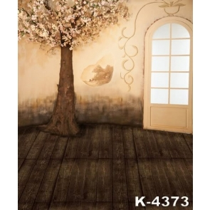 Tree Full of Flowers in House Wedding Photo Wall Backdrop