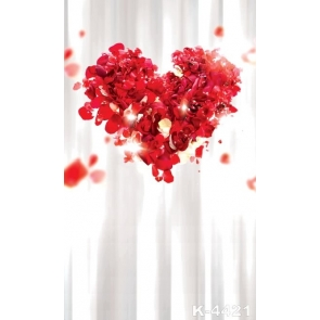 Sweet Red Petals Love Heart Wedding  Background Drops for Photography