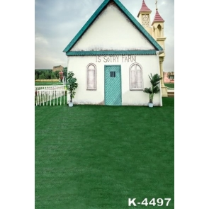 Romantic Green Grassland Small House Wedding Photographic Backdrops