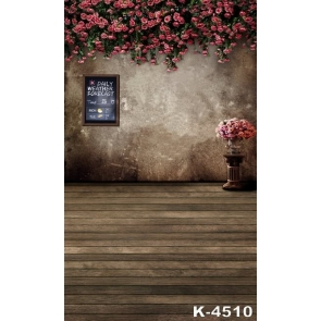 Red Roses Flowers down to Wood Floor Wedding Cheap Backdrops for Pictures
