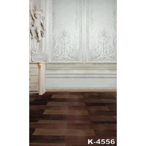 White Carved Flowers Wall Wood Floor Vinyl Photo Wall Backdrop