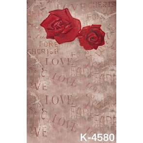 Simple Red Roses Flowers Letters LOVE Photo Wall Backdrop