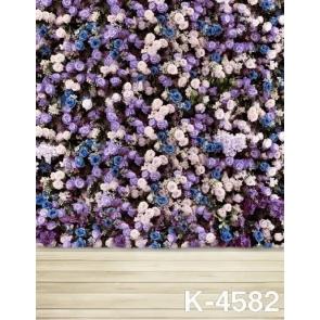 Romantic Purple Blue Pink Flowers Wood Floor Photo Wall Backdrop