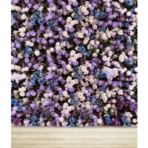 Romantic Purple Blue Pink Flowers Wood Floor Photo Wall Backdrop