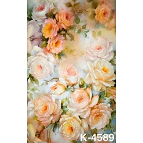 Light Yellow Roses Flowers Wall Background Drops for Photography