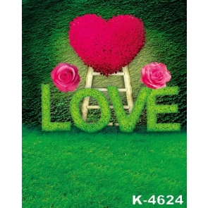 Green Grassland Flowers LOVE Heart Wedding Background Drops for Photography
