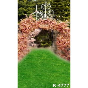 Romantic Green Grassland Pink Flowers Gate Wedding Party Professional Photo Backdrops