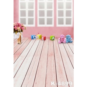 Toy Bear Wooden Floor Photography Props Baby Backdrops