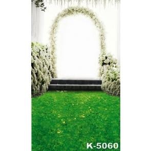 Romantic Green Grassland White Flowers Wedding Professional Camera Backdrops