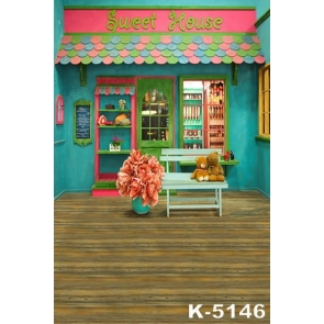 Sweet House Wood Floor Bears Wedding Photography Backgrounds and Props
