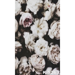 White Pink Roses Flowers Wall Vinyl Cheap Backdrops for Pictures