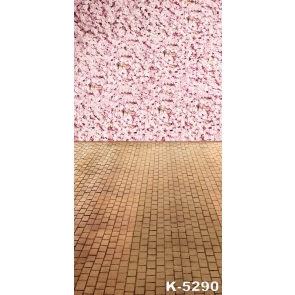 Cheap Pink Flowers Brick Floor Vinyl Photography Backdrops