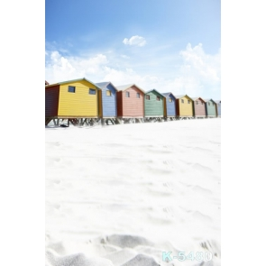 Colorful Small Wood Houses in Snowfield Scenic Photo Backdrop