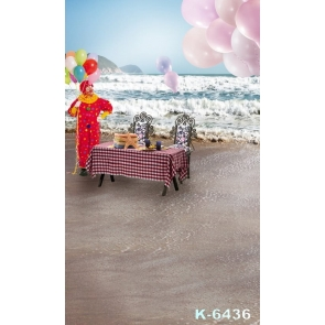 Clown Standing by Dining Table Seaside Beach Photography Background Props