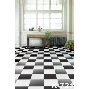 Black White Grid Floor Wood Glass Window Indoor Backdrops Living Room Background