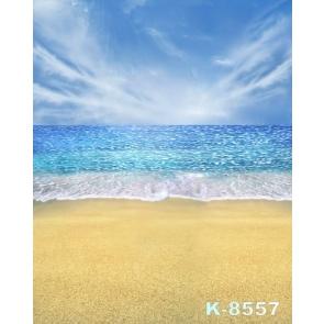 Blue Sea Yellow Sandy Beach Scenic Photography Photo Backdrops