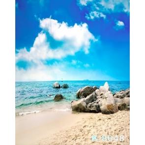 Blue Sky Sea Rocks by Seaside Beach Camera Backdrops