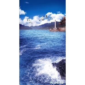White Seagulls over Blue Sea Scenic Photo Drop Background