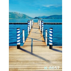 Wood Bridge over Sea Scenic Background Drops for Photography