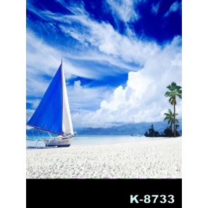 White Clouds Boat Sand Beach Photography Background Props