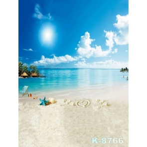 Sunny Day Blue Sky Seaside Beach for Summer Holiday Picture Backdrop