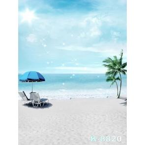 Seaside Beach Chairs Coconut Tree Blue Sea Camera Backdrops
