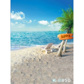 Blue Sea Coconut Tree Seaside Beach Photography Background Props