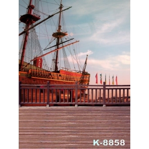 Large Wood Ship by Harbor Scenic Photo Prop Background