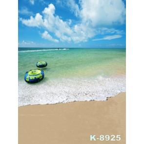 Scenic Life Buoy Bluish Green Sea Water Beach Pro Photo Backdrops