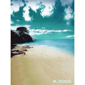 Green Sky Blue Sea Seaside Rocks Beach Photography Backdrop