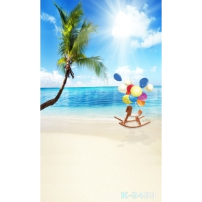 Colorful Balloons Wooden Horse Coconut Tree Beach Photo Backdrop