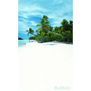 Island Green Trees Seaside Beach Backdrop Background for Photography